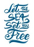 Surf lettering quote for posters, prints, cards. Surfing related textile design. Vintage illustration. Stock Photo