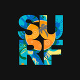 Surf lettering typography poster  Vector print on Royalty Free Stock Photography