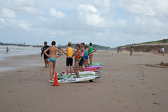 Surf life savers stand during training. Stock Images