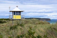 A surf lifesavers tower on the dunes of an Australian surf beach Stock Photo