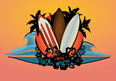 Surf logo with palms and hibiscus flowers Royalty Free Stock Photos