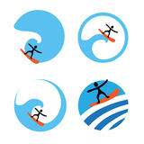 Surf logo set, vector illustration Royalty Free Stock Photography