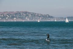 Surf man at San francisco, california stock image