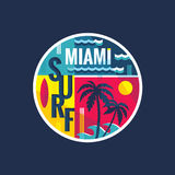 Surf - Miami - vector illustration concept in vintage graphic style for t-shirt. And other print production. Palms, wave and surf vector illustration Stock Photos