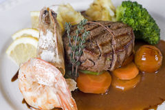 Surf 'n' turf a la carte meal. Beef fillet with shrimps surf 'n' turf a la carte meal Royalty Free Stock Images