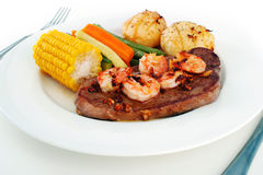 Surf n' Turf meal setting Royalty Free Stock Images