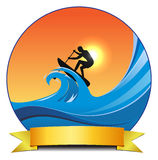 Surf padlling. Vector concept surf paddle illustration, eps10 file, transparency used Stock Photos