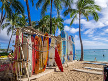 Surf rental shop on Waikiki beach Stock Images