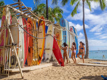 Surf rental shop on Waikiki beach Royalty Free Stock Photography