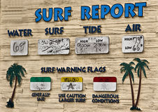 Surf Report. Beach surf report posted by the pier Royalty Free Stock Photography