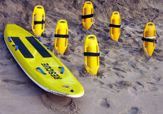 Surf rescue. Equipment ready on the beach Royalty Free Stock Photography