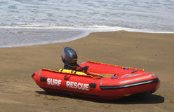 A surf rescue boat on the beach. Royalty Free Stock Photography