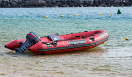 Surf Rescue boat at coast of Teresitas beach on Tenerife island, Spain Stock Photos