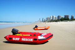 Surf Rescue Boats Gold Coast Australia. Surf rescue boats on Southport beach looking towards Surfers Paradise on the Gold Coast Australia royalty free stock photos