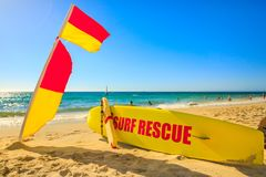 Surf rescue at Cottesloe Beach. In Western Australia the Perth`s most famous town beach in Indian Ocean. Popular summer holidays destination in Australia royalty free stock photography