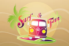 Surf retro travel van Stock Photo
