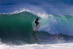 Surfer Backside Hollow Wave Royalty Free Stock Photos