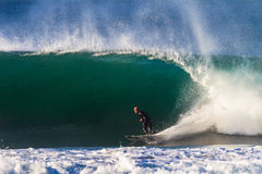 Surf Rider Bottom Hollow Wave Stock Photography