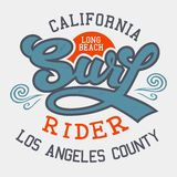 Surf rider California t-shirt Stock Photo