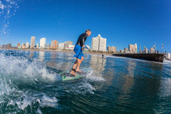 Surf Rider SUP Catching Wave Durban Royalty Free Stock Photography