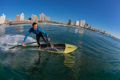 Surf Rider SUP Surfing Wave Durban Royalty Free Stock Photos