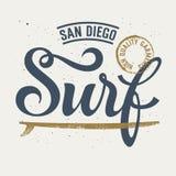 Surf Rider 004. Surfing artwork / Surf handmade typography / T-shirt apparel print graphics / Original graphic Tee Royalty Free Stock Photography