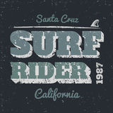 Surf rider. Typography vintage style. Vector print on t-shirt Royalty Free Stock Images