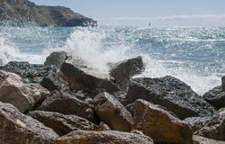 Surf and rocky coast Stock Image
