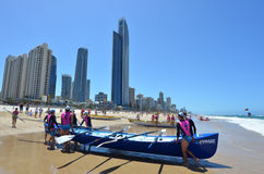 Surf rowers on Gold Coast Queensland Australia Royalty Free Stock Images