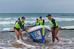 Surf rowing competition Royalty Free Stock Images