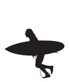 Surf Run 2. Surfer silhouette rushing to beat the beach crowd.  Clipping Path Included Stock Image