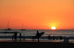 Surf's Out. Sundown at Tamarindo Beach, Guanacaste, Costa Rica Stock Photography