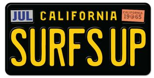 Surf`s Up License Plate California Stock Photo
