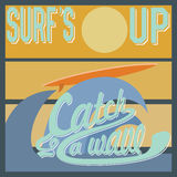 Surf's Up typography, t-shirt Printing design graphics, retro vintage vector poster, Badge Applique Label.  Royalty Free Stock Photos