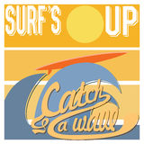 Surf's Up typography, t-shirt Printing design graphics, retro vintage vector poster, Badge Applique Label Stock Images
