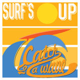 Surf's Up typography, t-shirt Printing design graphics, retro vintage vector poster, Badge Applique Label.  Royalty Free Stock Photography