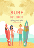 Surf School Poster Stock Images