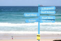 Surf School Sign Post Royalty Free Stock Images