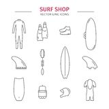 Surf shop. Line icons Royalty Free Stock Photography