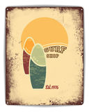 Surf shop tin poster Royalty Free Stock Photography