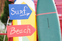 Surf Sign and Beach Sign Royalty Free Stock Photography