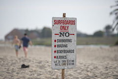 Surf only sign no swimming wading bodyboards kayak Royalty Free Stock Photography