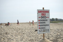 Surf only sign no swimming wading bodyboards kayak Stock Images