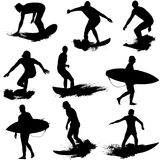 Surf Silhouettes Royalty Free Stock Photos