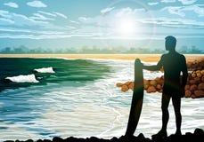 Surf silhouettes on the beach Stock Photos