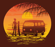 Surf silhouettes, vector illustration Stock Photography