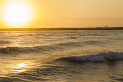 Surf-ski Paddler Ocean Sunrise Stock Photos