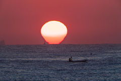 Surf-Ski Paddler Sunrise Ocean Royalty Free Stock Photography