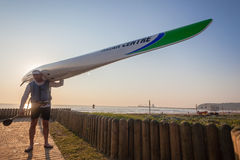 Surf-Ski Paddler Training Over Stock Photography
