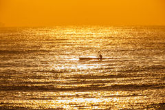 Surf-Ski Canoe Paddler  Water Reflection Royalty Free Stock Images
